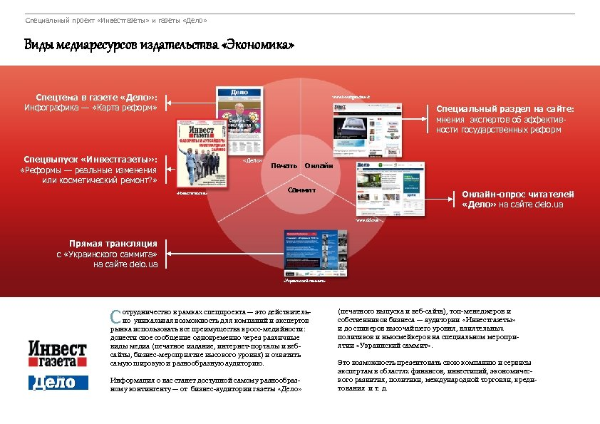 Специальный проект «Инвестгазеты» и газеты «Дело» Виды медиаресурсов издательства «Экономика» Спецтема в газете «Дело»