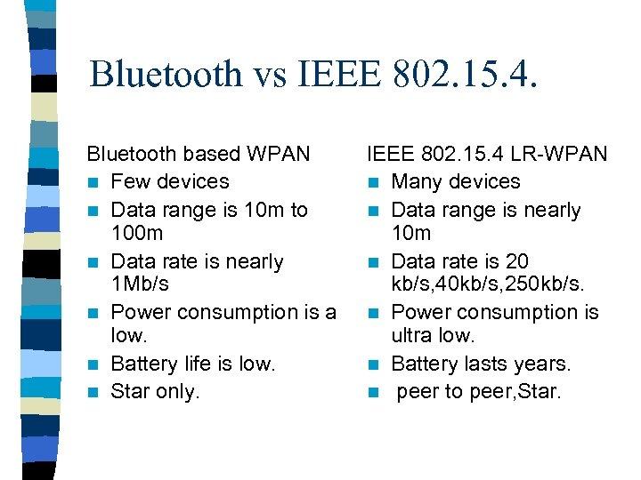 Bluetooth vs IEEE 802. 15. 4. Bluetooth based WPAN n Few devices n Data