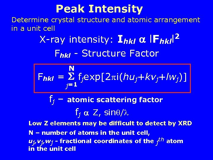 Peak Intensity Determine crystal structure and atomic arrangement in a unit cell X-ray intensity: