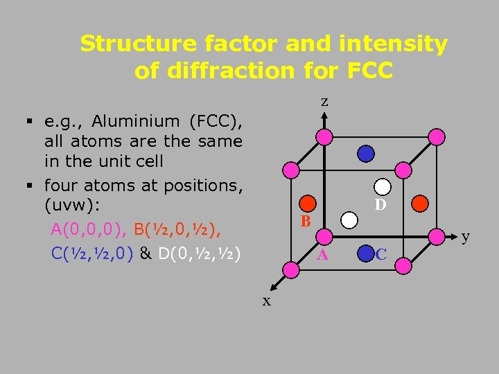 Structure factor and intensity of diffraction for FCC z § e. g. , Aluminium
