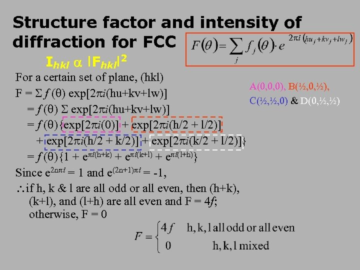 Structure factor and intensity of 2 i diffraction for FCC Ihkl l. Fhkll 2