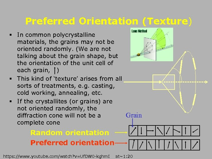 Preferred Orientation (Texture) § In common polycrystalline materials, the grains may not be oriented