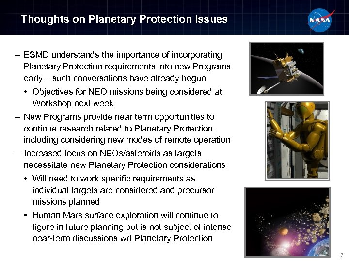 Thoughts on Planetary Protection Issues – ESMD understands the importance of incorporating Planetary Protection
