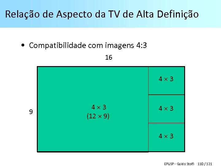Relação de Aspecto da TV de Alta Definição • Compatibilidade com imagens 4: 3