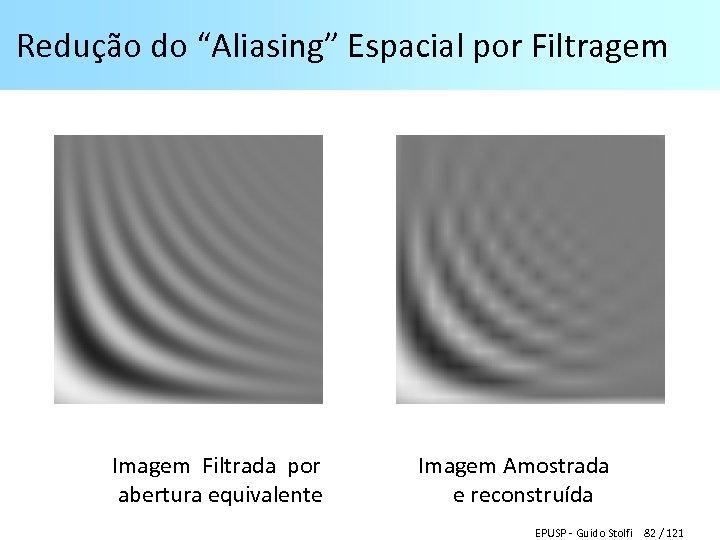 """Redução do """"Aliasing"""" Espacial por Filtragem Imagem Filtrada por Imagem Amostrada abertura equivalente e"""