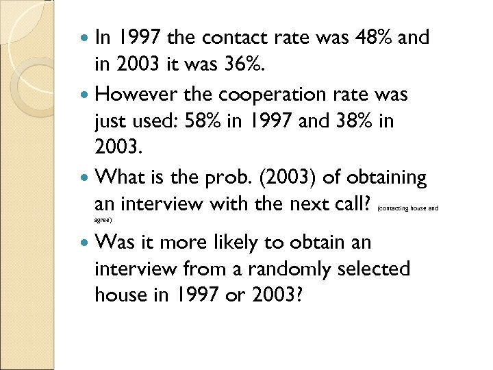 In 1997 the contact rate was 48% and in 2003 it was 36%.