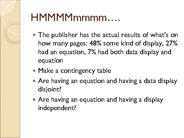 HMMMMmmmm…. The publisher has the actual results of what's on how many pages: 48%