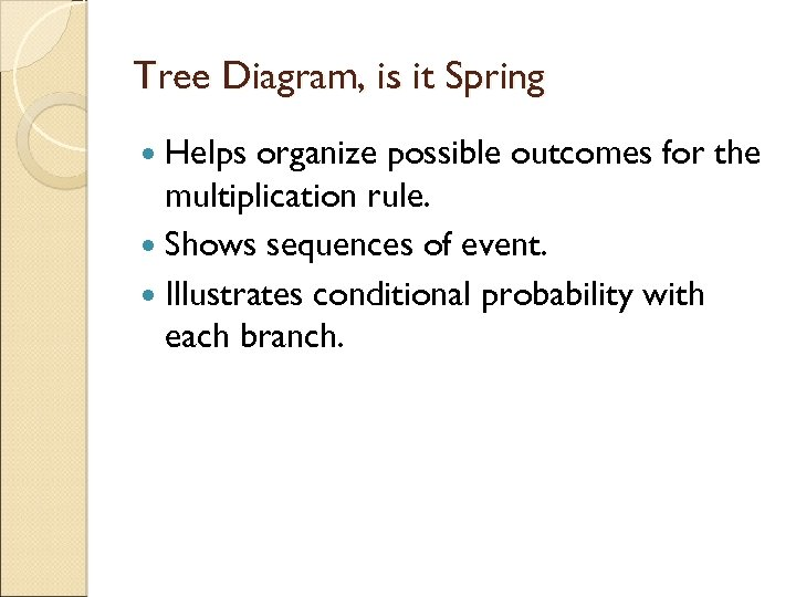 Tree Diagram, is it Spring Helps organize possible outcomes for the multiplication rule. Shows