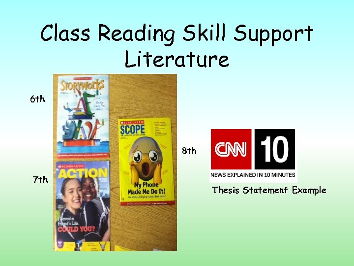 Class Reading Skill Support Literature 6 th 8 th 7 th Thesis Statement Example