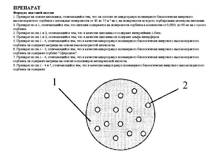ПРЕПАРАТ Формула полезной модели 1. Препарат на основе цитокинов, отличающийся тем, что он состоит