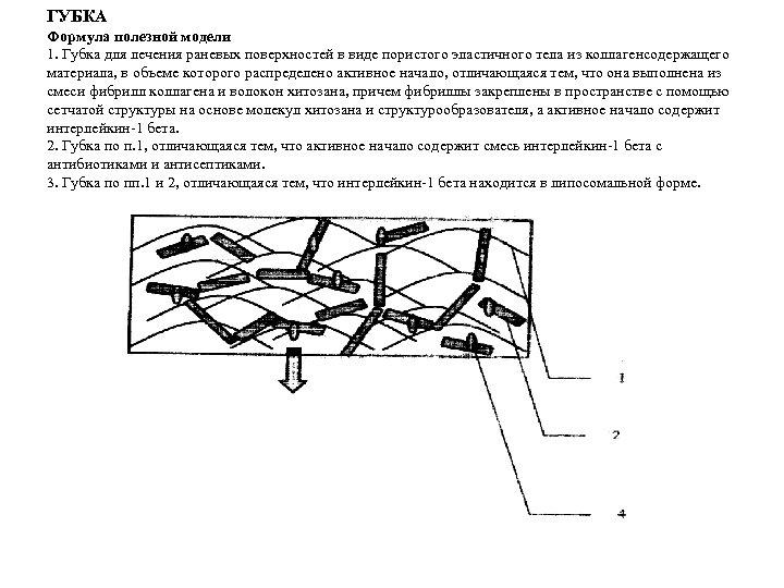 ГУБКА Формула полезной модели 1. Губка для лечения раневых поверхностей в виде пористого эластичного
