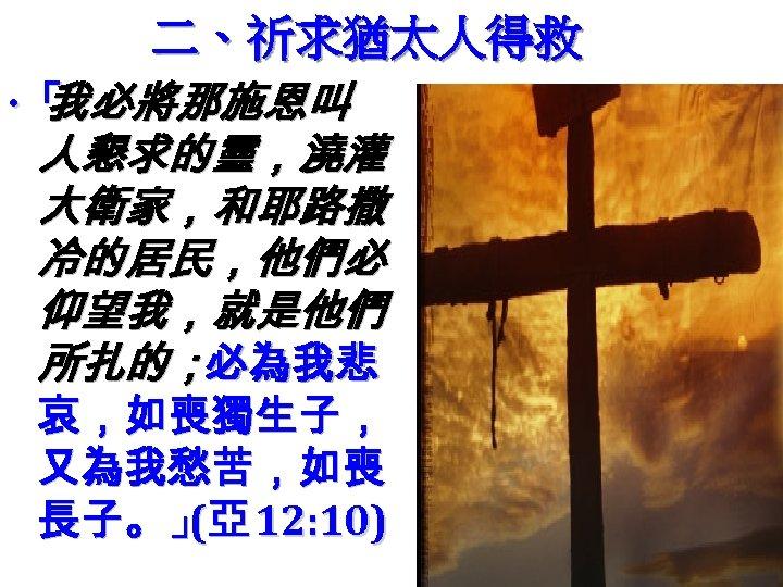 二、祈求猶太人得救 ‧「 我必將那施恩叫 人懇求的靈,澆灌 大衛家,和耶路撒 冷的居民,他們必 仰望我,就是他們 所扎的;必為我悲 哀,如喪獨生子, 又為我愁苦,如喪 長子。」亞 12: 10) (