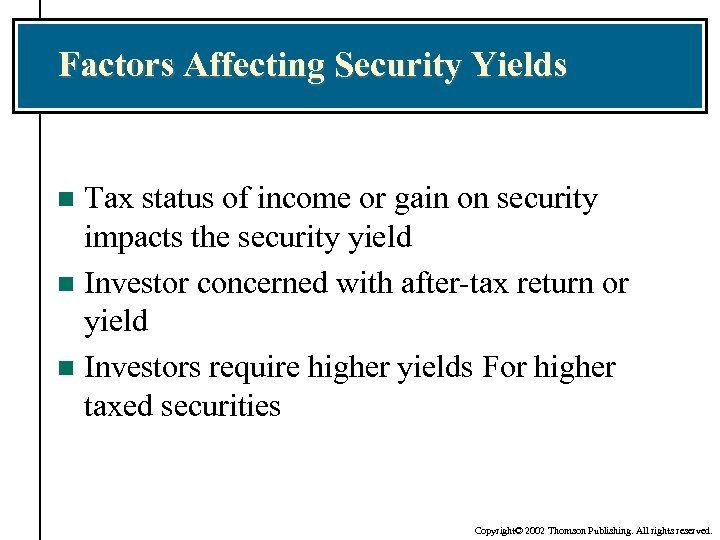 Factors Affecting Security Yields Tax status of income or gain on security impacts the