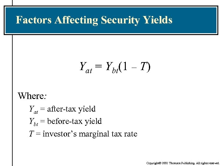 Factors Affecting Security Yields Yat = Ybt(1 – T) Where: Yat = after-tax yield