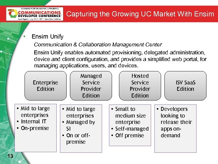 Capturing the Growing UC Market With Ensim • Ensim Unify Communication & Collaboration Management