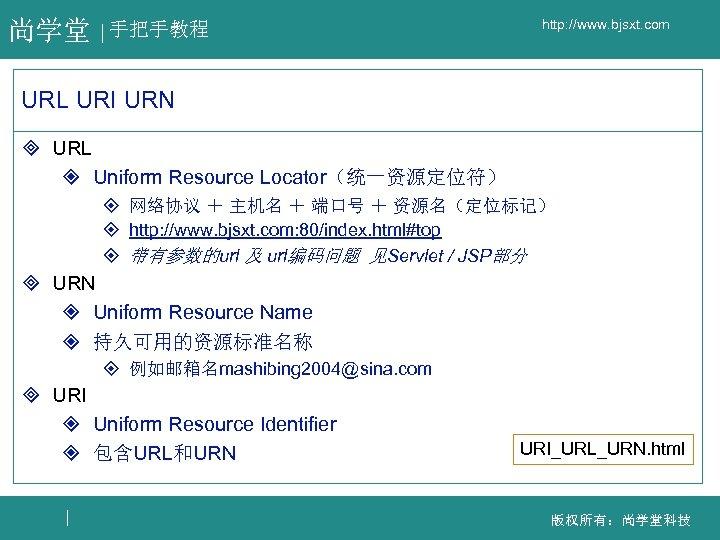 尚学堂 手把手教程 http: //www. bjsxt. com URL URI URN ³ URL ² Uniform Resource