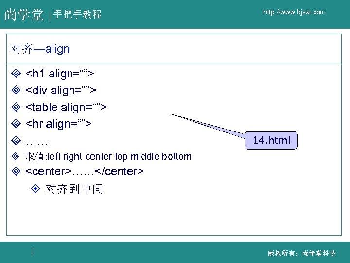 """尚学堂 手把手教程 http: //www. bjsxt. com 对齐—align ³ <h 1 align=""""""""> ³ <div align="""""""">"""