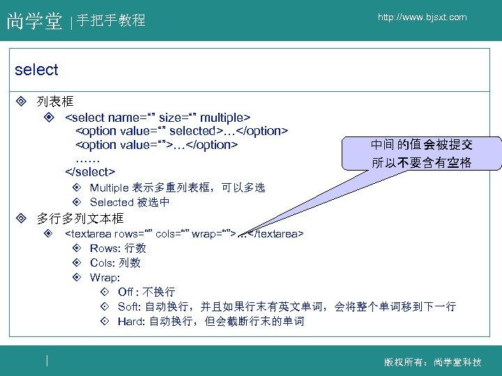 "尚学堂 手把手教程 http: //www. bjsxt. com select ³ 列表框 ² <select name="""" size="""" multiple>"