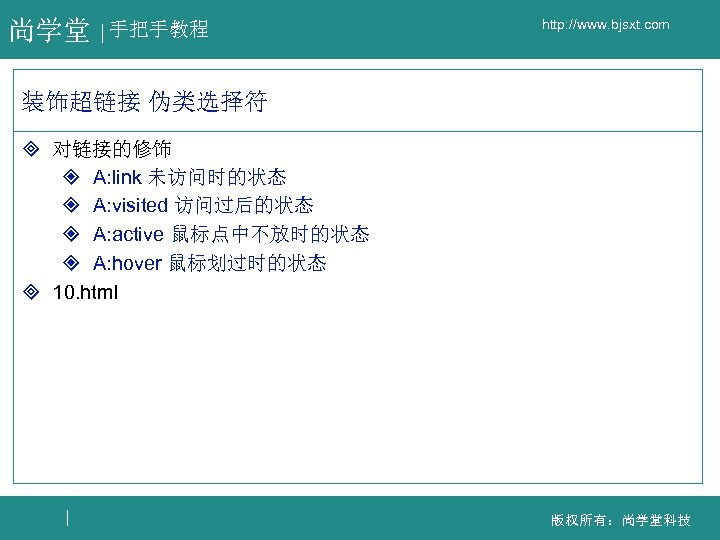 尚学堂 手把手教程 http: //www. bjsxt. com 装饰超链接 伪类选择符 ³ 对链接的修饰 ² A: link 未访问时的状态