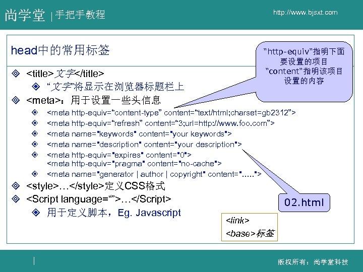 """尚学堂 手把手教程 head中的常用标签 ³ <title>文字</title> ² """"文字""""将显示在浏览器标题栏上 ³ <meta>:用于设置一些头信息 http: //www. bjsxt. com"""
