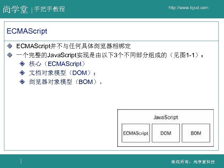 尚学堂 手把手教程 http: //www. bjsxt. com ECMAScript ³ ECMAScript并不与任何具体浏览器相绑定 ³ 一个完整的Java. Script实现是由以下3个不同部分组成的(见图 1 -1):