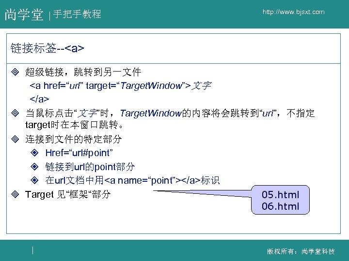 """尚学堂 手把手教程 http: //www. bjsxt. com 链接标签--<a> ³ 超级链接,跳转到另一文件 <a href=""""url"""" target=""""Target. Window"""">文字 </a>"""