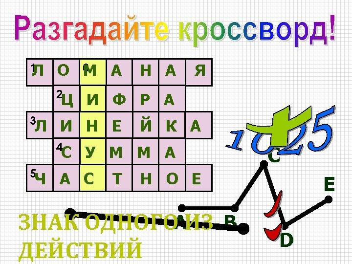 1 Л О 6 А М Н А Я 2 Ц И Ф Р