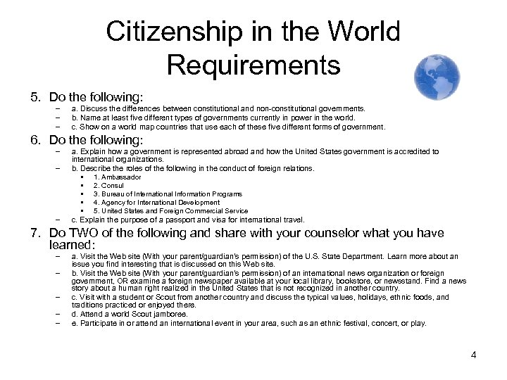 Citizenship in the World Requirements 5. Do the following: – – – a. Discuss