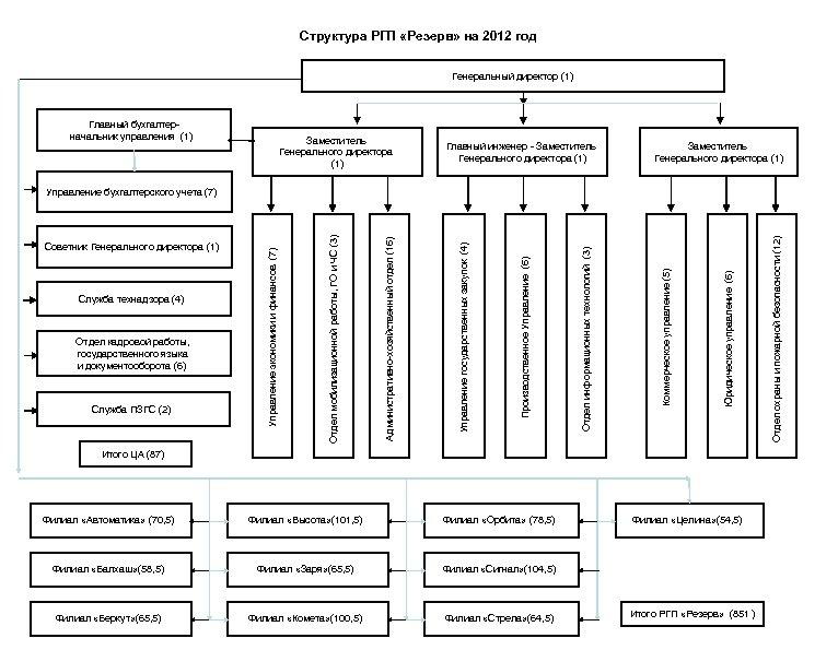Структура РГП «Резерв» на 2012 год Генеральный директор (1) Главный бухгалтерначальник управления (1) Заместитель