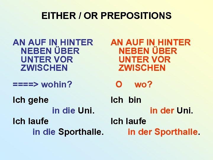 EITHER / OR PREPOSITIONS AN AUF IN HINTER NEBEN ÜBER UNTER VOR ZWISCHEN ====>