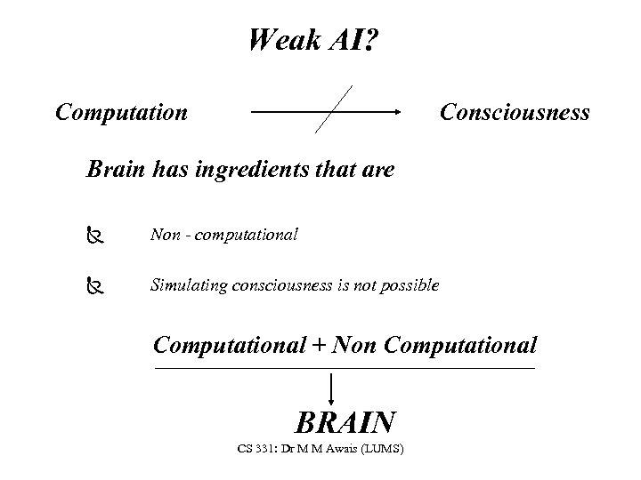 Weak AI? Computation Consciousness Brain has ingredients that are Ñ Non - computational Ñ