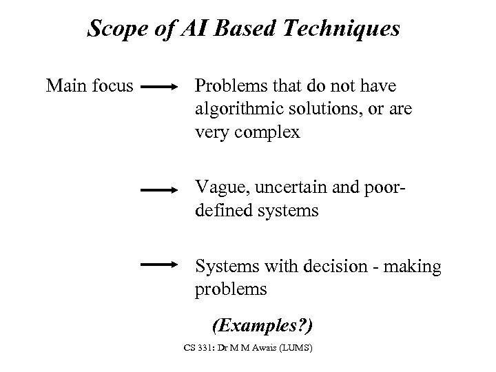 Scope of AI Based Techniques Main focus Problems that do not have algorithmic solutions,