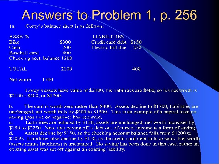 Answers to Problem 1, p. 256
