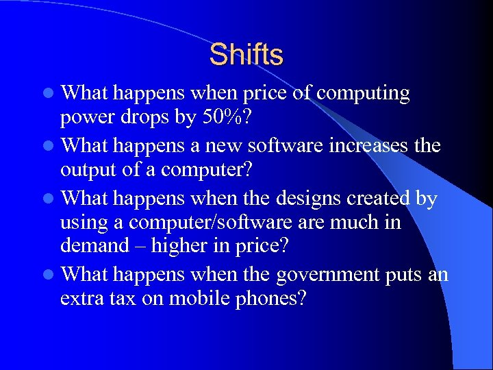 Shifts l What happens when price of computing power drops by 50%? l What