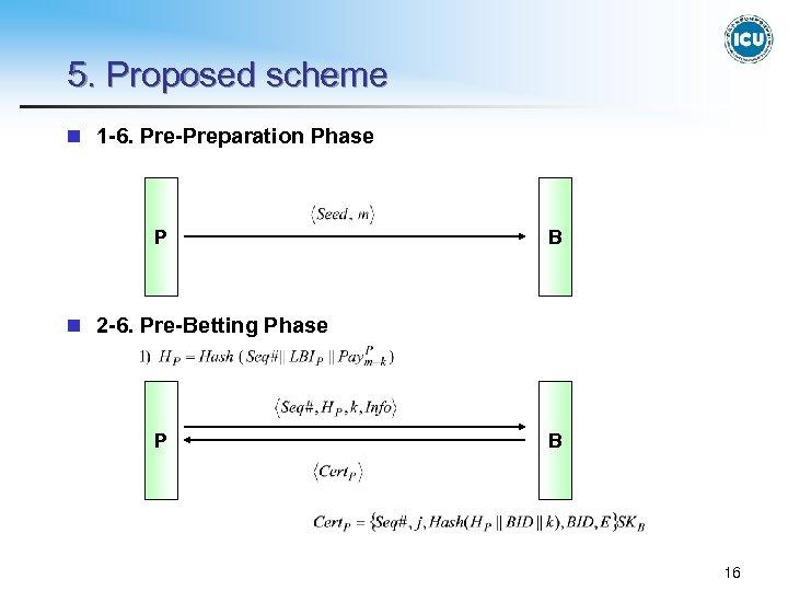 5. Proposed scheme n 1 -6. Pre-Preparation Phase P B n 2 -6. Pre-Betting