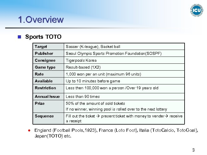 1. Overview n Sports TOTO Target Publisher Seoul Olympic Sports Promotion Foundation(SOSPF) Consignee Tigerpools