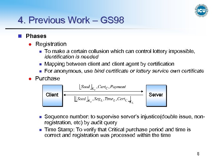 4. Previous Work – GS 98 n Phases l Registration n l To make