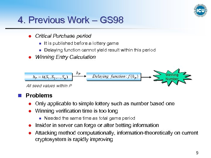 4. Previous Work – GS 98 l Critical Purchase period n n l It