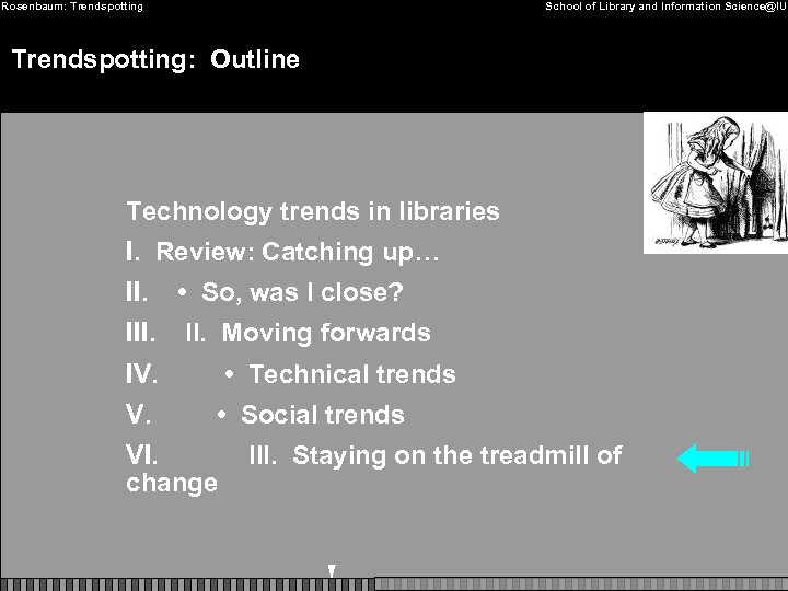 Rosenbaum: Trendspotting School of Library and Information Science@IU Trendspotting: Outline Technology trends in libraries