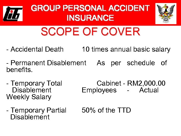 GROUP PERSONAL ACCIDENT INSURANCE SCOPE OF COVER - Accidental Death 10 times annual basic