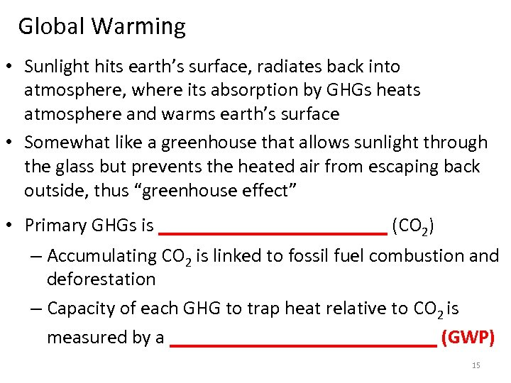 Global Warming • Sunlight hits earth's surface, radiates back into atmosphere, where its absorption