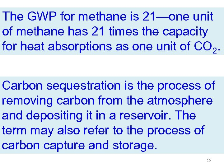 The GWP for methane is 21—one unit of methane has 21 times the capacity