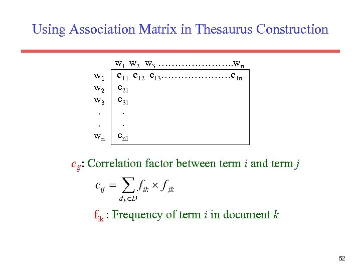 Using Association Matrix in Thesaurus Construction w 1 w 2 w 3. . wn