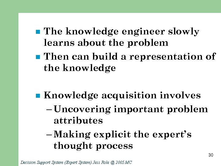 n n n The knowledge engineer slowly learns about the problem Then can build