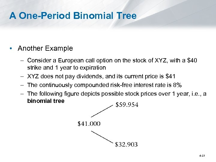A One-Period Binomial Tree • Another Example – Consider a European call option on