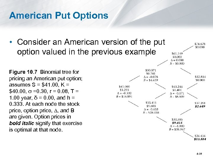 American Put Options • Consider an American version of the put option valued in