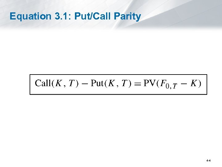 Equation 3. 1: Put/Call Parity 4 -4