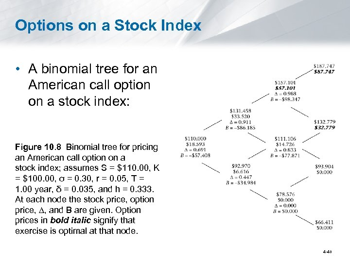 Options on a Stock Index • A binomial tree for an American call option