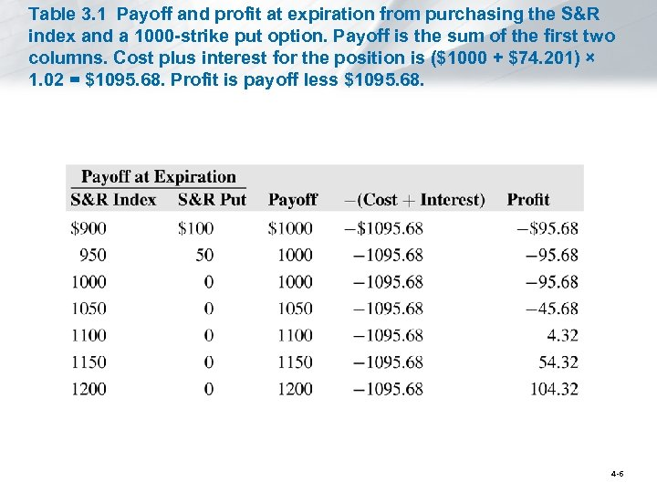 Table 3. 1 Payoff and profit at expiration from purchasing the S&R index and