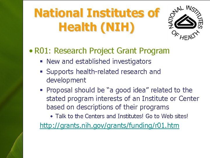 National Institutes of Health (NIH) • R 01: Research Project Grant Program § New
